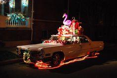 The annual Christmas Cadillac on Monument Avenue
