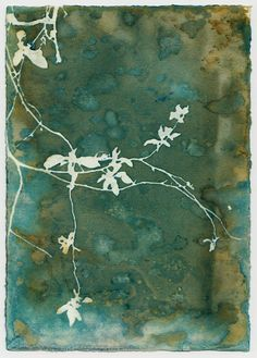 Original cyanotype print, using a variation on the alternative photography process of the cyanotype in a technique called #wetcyan where water is deliberately introduced and the image is left to expose for sometimes up to 48 hours, to achieve a wide variety of colors and effects completely unlike the traditional cyanotypes. Every single print is unique. Cyanotype print is 5 x 7, and comes in an 8x10 mat. The Cyanotype process, originally created by Sir John Herschel in 1842, is also known…