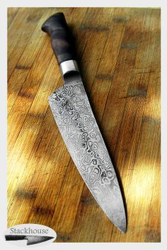 random pattern damascus cooking knife with stainless steel bolster and pohutukawa handle  - made by Shea Stackhouse