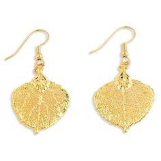 24k Gold Dipped Aspen Leaf Dangle Earrings – Sparkle & Jade