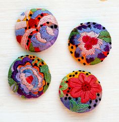 Finished Embroidered buttons by RCButtons, via Flickr