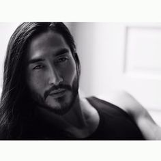 Tony Thornburg FC for Jedao Tony Thornburg, Asian Men Long Hair, Handsome Asian Men, Beard Tips, My Guy, Male Beauty, Black White, Long Black, Bearded Men