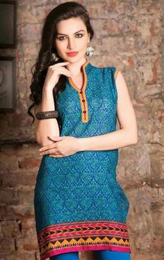 picture of beauteous blue color ready made kurti beauteous pink blue