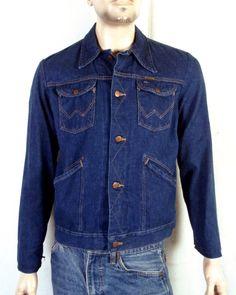 a6830e360a vtg 70s Wrangler USA made No Fault Denims Dark Wash Denim Jean Jacket sz 40  Long. Stl Vintage