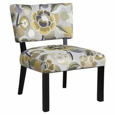 "Floral accent chair.    Product: Chair    Construction Material: Rayon, polyester and wood    Color: Yellow and gray    Features: Plush cushions     Dimensions: 33.13"" H x 24.75"" W x 27.13"" D    Note: Some assembly required"