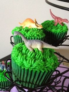 Dinosaur cupcakes FOR KYLE TO TAKE TO SCHOOL FOR BIRTHDAY!!!