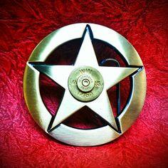 Texas Star Bullet Belt Buckle - Brass