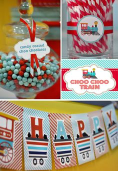 DIY printable birthday party package  choo choo train by BluGrass, $30.00