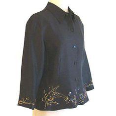 Black Silk Beaded Sequin Jacket Top Peplum by  ICE #ICE #BasicJacket