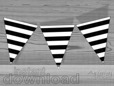 instant download printable striped pennant black and white party banner DIY via Etsy
