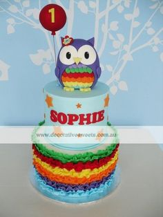Rainbow owl  Cake by NyN Pink Hoot Owl Cake Owl Cake — Children's Birthday Cakes party Girl Boys Kid Kids