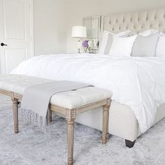 Neutral bedroom inspo Arhaus Tufted Bed Gray Persian rug Tufted bench White bedding Benjamin Moore classic gray Chantilly Lace   (@thedecordiet) on Instagram