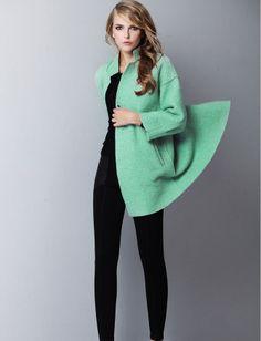 ++ minty wool coat + black...