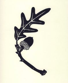 8 x 10 Botanical Linocut Black and White by UnderwaterEvergreen, $30.00