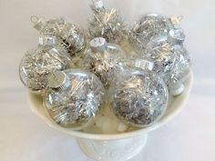 Set of 8 Silver Tinsel Ornaments With Silver Hangers Included by SpecialOrnaments on Etsy