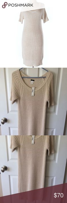 NWT J Crew Cream Beige Short Sleeve Sweater Dress Brand new dress with tags attached. Size small. Wide scoop neckline. Short sleeve. The band along the bottom hem is not tight. The first photo is not of the dress for sale, just used to show shape of dress. J. Crew Dresses