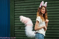 Huge Ears Perky Fox Tail Set Pink White Fluffy Furry by PocketFoxy Animal Costumes, Cute Costumes, Halloween Costumes, Mangle Costume, Fnaf Cosplay, Wolf Costume, Spice And Wolf, Fox Ears, Carnival