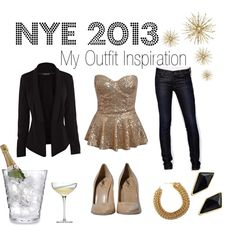 NYE 2013 - The outfit I'm leaning towards this NYE.  We're going to a hip local pub so I think this will be dressy but not over the top! #nye #2013 #sparkle #gold #blazer #champagne