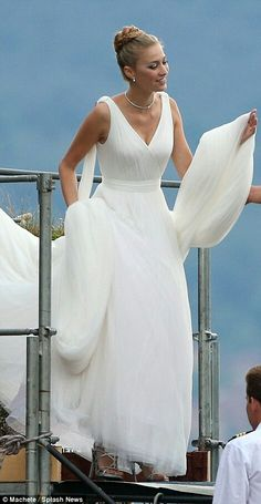 To have and to hold: Stunning Italian heiress Beatrice Borromeo is given a helping hand by her royal groom Pierre Casiraghi ahead of ceremony at her parents' lakeside castle Beatrice Borromeo, Royal Brides, Royal Weddings, Royal Wedding Gowns, Grace Kelly, Princesa Victoria, Grecian Wedding, Valentino Gowns, Religious Wedding