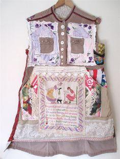 ANTIQUE SAMPLER EMBROIDERY Vintage Linens Wearable Folk Art Collage Clothing Applique Crazy Quilt Patchwork // mybonny random scraps of fabric