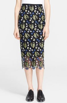 Free shipping and returns on Erdem Guipure Lace Midi Skirt at Nordstrom.com. Colorful embroidery lends standout dimension to the floral motif of a long and lean lace skirt finished with a sheer, scalloped hemline.