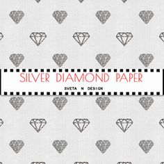 Glitter DIAMONDS Digital Paper in Silver White - Instant Download {glitter digital, glitter diamonds, digital diamonds, diamonds paper}