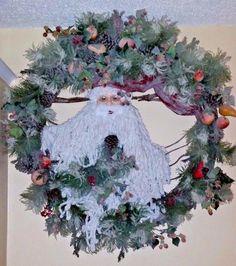 "AMAZING DESIGNER CHRISTMAS SANTA WREATH - LARGE 44"" & HEAVY - UNIQUE"