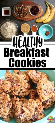 Perfect for breakfast on the go, or as a snack any time. These healthy cookies contain no oil, flour, eggs or refined sugar. They're made with peanut butter, banana, oats, nuts and seeds, and sweetened naturally with honey. They're DELICIOUS! #HappyHooligans #Healthy #Breakfast #Cookie #Recipe #Nutritious #Snack #GrabNGo #OnTheGo #PeanutButter #Banana #Nuts #Pepitas #Cranberries #Oats Savory Breakfast, Breakfast Cookies, Breakfast Dishes, Breakfast Recipes, Breakfast Ideas, Health Breakfast, Almond Recipes, Banana Recipes, Vegan Recipes