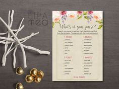 Whats in your Purse Game Printable, Bridal Shower Purse Game, Floral Rustic Bridal Shower Party Ideas. Matching bridal shower invitation and games at: lipamea.etsy.com
