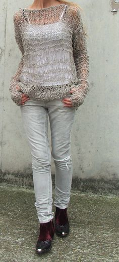 Fawn colored grunge sweater with an open-knit pattern. This would be so easy to do.