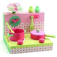 Bordsspis i trä, grön/rosa