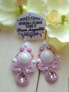Купить сутажный комплект - белый, сакура, розовый, розовый кварц, сутажный браслет, сутажная техника