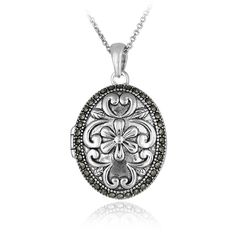 Glitzy Rocks Sterling Silver Marcasite Flower Locket Necklace ($30) ❤ liked on Polyvore featuring jewelry, necklaces, accessories, colares, jewelry necklace, white, long sterling silver necklace, flower pendant necklace, locket necklaces and sterling silver pendant necklace