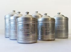 French Kitchen Aluminium CANISTERS SET / French decor /French kitchen /Shabby chic/ French country /Rustic