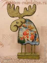 Декупаж на дереве: Картонный Лосяш