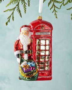 Phone Box Santa Christmas Ornament