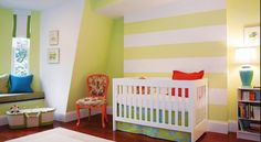 Green and white stripe on one wall