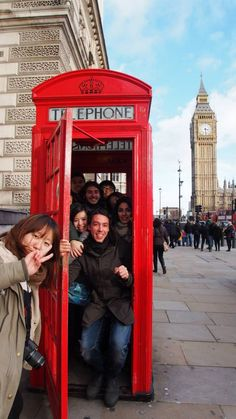 Squeeze in a typical red telephone box in UK with all the erasmus students from around the world!