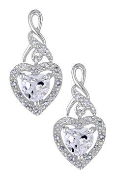 Sterling Silver Diamond & White Sapphire Heart Dangle Earrings on HauteLook