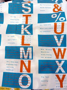Alphabet fabric- cool ideas for lettering projects. From Japanistic/Blog
