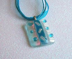 Fused Glass Pendant (Turquoise and Iridized Clear). $18.00, via Etsy.