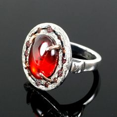Garnet Halo ring Sterling and 14k Rose by mooredesign13 on Etsy