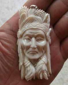 Indian in Antler Carving Pendant  w Sterling Silver Bale -- WOOW--