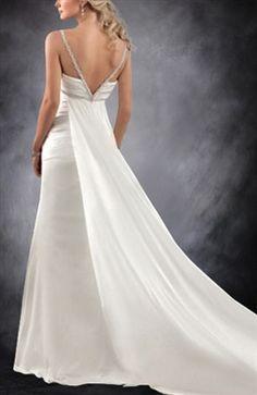 Spaghetti Straps Low Cut V Back Wedding Gown