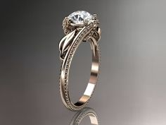 """Unique rose gold engagement ring with a """"Forever Brilliant"""" Moissanite center stone Forever Brilliant Moissanite, Forever One Moissanite, Unique Diamond Engagement Rings, Diamond Wedding Bands, Unique Roses, Black Diamond, Spring, Gemstone Rings, White Gold"""