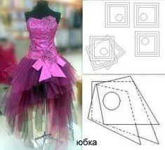 Full cloak skirt pattern with 3 layers and assymetry on front skirt. Order via line : (with - Salvabrani Formal Dress Patterns, Dress Sewing Patterns, Doll Clothes Patterns, Clothing Patterns, Fashion Sewing, Diy Fashion, Bridal Dresses, Girls Dresses, Crinoline Skirt