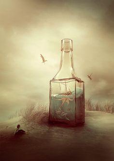 digital photoshop photo: Salvation of the bottle | photographer: Amandine van Ray | WWW.PHOTODOM.COM