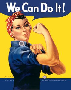 "During World War II, the U.S. government recruited female workers to join the munitions industry through the famous ""Rosie the Riveter"" propaganda campaign. Between 1940 and 1944, the number of employed women increased from 12 million to 18.2 million. Today's number of employed women in the civilian labor force is 68 million."" We have come so far with how women are respected."