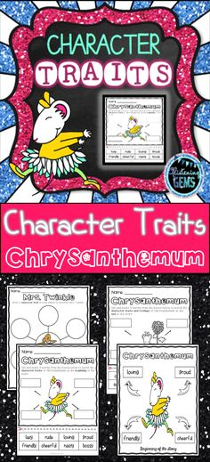 Chrysanthemum - character traits, feelings and physical traits - NO PREP printables, answer sheets and teacher instructions. First Day Of School Activities, School Fun, Character Traits Activities, Character Development, Chrysanthemum Activities, Teaching Resources, Classroom Resources, School Resources, Science Activities