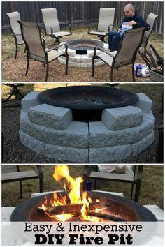 DIY fire pit ideas - backyard fire pit on  a budget.